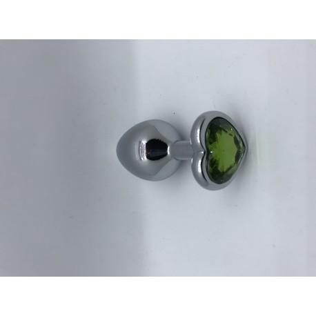 Dop Anal Inimioara cu Diamant Verde