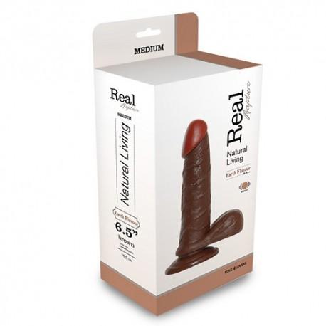 Vibrator realistic negru cu testicule, 19cm